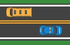 Autobus scolaire et voiture d'aéroport passant Asphalt Road illustration stock