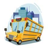 Autobus scolaire sur le fond de l'art de vecteur de ville photos stock