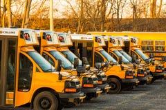 Autobus scolaires jaunes garés de Hempfield Image stock