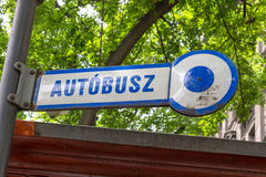 Autobus sign in Budapest Hungary made of enamel. Royalty Free Stock Photo