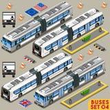 Autobus Ustawia 04 pojazd Isometric Obrazy Royalty Free