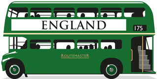 Autobus vert britannique (Angleterre) Images libres de droits