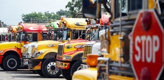 Autobuses coloridos imagen de archivo