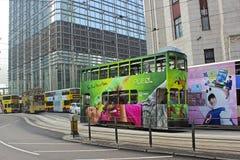 Autobuses del autobús de dos pisos en Hong Kong, Asia Imagenes de archivo
