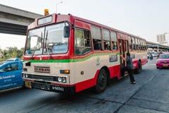24 autobuses del rojo en Bangkok Foto de archivo