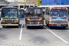 Autobuses públicos regulares en el término de autobuses en Mauricio Foto de archivo libre de regalías