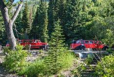 Autobuses rojos de la emisión fotos de archivo libres de regalías