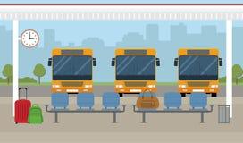 Autobuses y zona de espera en fondo de la ciudad ilustración del vector