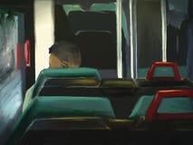 autobusowa cyfrowa mężczyzna obrazu jazda ilustracji