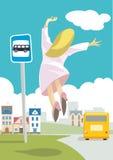Autobusowa przerwa royalty ilustracja