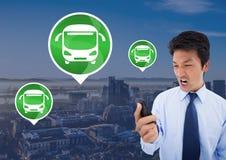 Autobusowe ikony i mężczyzna mienie dzwonią w mieście Zdjęcie Royalty Free