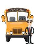 Autobusu szkolnego i kierowcy autobusu ilustracja 2 Obrazy Royalty Free