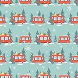 Autobusy, jedlinowi drzewa, śnieg, bezszwowy wzór royalty ilustracja
