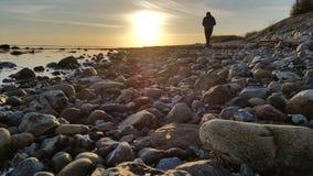 Autocamper sulla spiaggia fotografia stock