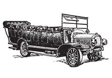 Autocar. Vector engraving of vintage autocar or automobile Stock Photos