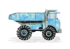 Autocarro con cassone ribaltabile blu immagine stock libera da diritti