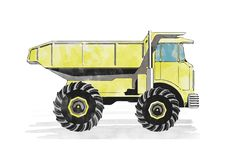 autocarro con cassone ribaltabile giallo dell'acquerello fotografie stock