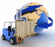Autochargeur avec des boîtes sur un fond un globe Photographie stock