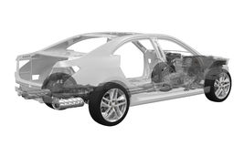 Autochassis met motor Royalty-vrije Stock Foto
