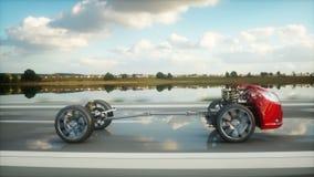 Autochassis met motor op weg overgang Zeer snel drijvend AUTOconcept Realistische 4K animatie stock videobeelden