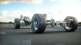 Autochassis met motor op weg Zeer snel drijvend AUTOconcept het 3d teruggeven Stock Fotografie