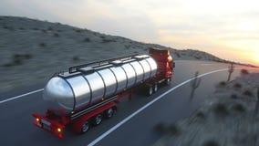 Autocisterna della benzina, rimorchio dell'olio, camion sulla strada principale Azionamento molto veloce Animazione automatica re royalty illustrazione gratis