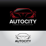 `Autocity` car logotype - car service and repair,  set. Car logo. Isolated auto theme logo. Black, red and white colors Royalty Free Stock Images