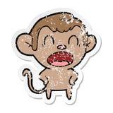 autocollant afflig? d'un singe de cri de bande dessin?e illustration libre de droits