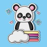 Autocollant animal de correction de panda mignon Illustration de Vecteur