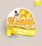 Autocollant avec du miel Image stock