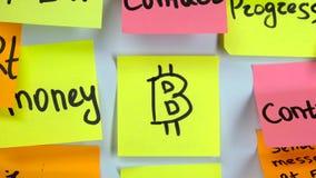 Autocollant avec le changement du dollar de symbole monétaire au symbole de bitcoin clips vidéos