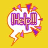 Autocollant d'aide, concept coloré de soutien de bannière d'icône de label illustration stock