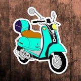 Autocollant d'art de bruit Main dessinant le rétro scooter Photos libres de droits