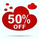 Autocollant d'isolement de nuage rouge à vendre dans le magasin Cinquante pour cent d Image stock