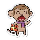 autocollant d'un cadeau de transport de cri de No?l de singe de bande dessin?e illustration libre de droits