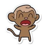 autocollant d'un singe de cri de bande dessin?e illustration libre de droits