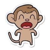 autocollant d'un singe de cri de bande dessin?e illustration de vecteur