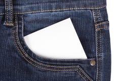 Autocollant dans des jeans de poche Images stock