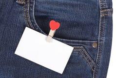 Autocollant dans des jeans de poche Photographie stock