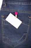 Autocollant dans des jeans de poche Image stock