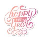 Autocollant de calligraphie de lettrage d'expression de gradient de vecteur de bonne année Photos libres de droits