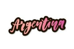 Autocollant de calligraphie de lettrage de vecteur d'expression de Jour de la Déclaration d'Indépendance de Viva Argentina illustration stock