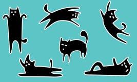 Autocollant de chat noir Photos libres de droits