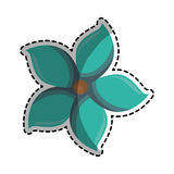 Autocollant de chiffre bleu icône de silhouette de fleur florale Photographie stock
