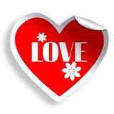 Autocollant de coeur avec l'amour et les fleurs Photo stock