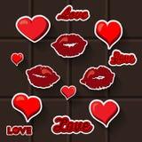 Autocollant de coeur de lèvres d'amour Images stock