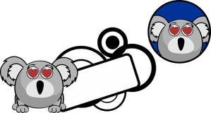Autocollant de copyspace d'expression de bande dessinée de koala de boule d'Inlove Photos stock