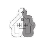 autocollant de découpe monochrome d'église à l'arrière-plan blanc Photographie stock libre de droits