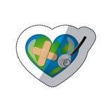 autocollant de fond de la terre de planète dans la forme du coeur avec le bandage et le stéthoscope adhésifs Images libres de droits
