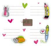 Autocollant de fournitures scolaires Images stock